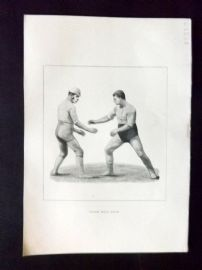 Badminton Library 1893 Antique Wrestling Print. Catch Hold Style
